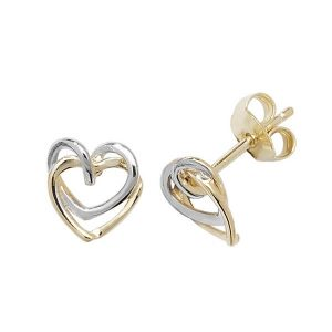 9ct Yellow and White Gold Interlocking Heart Stud Earrings