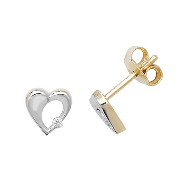 9ct Yellow and White Gold Heart Stud Earrings