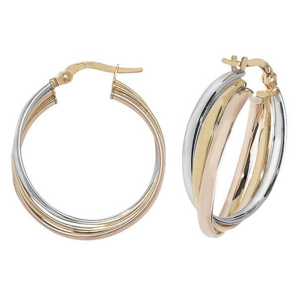 Tri-Colored Round 9ct Gold 20mm Hoop Earrings