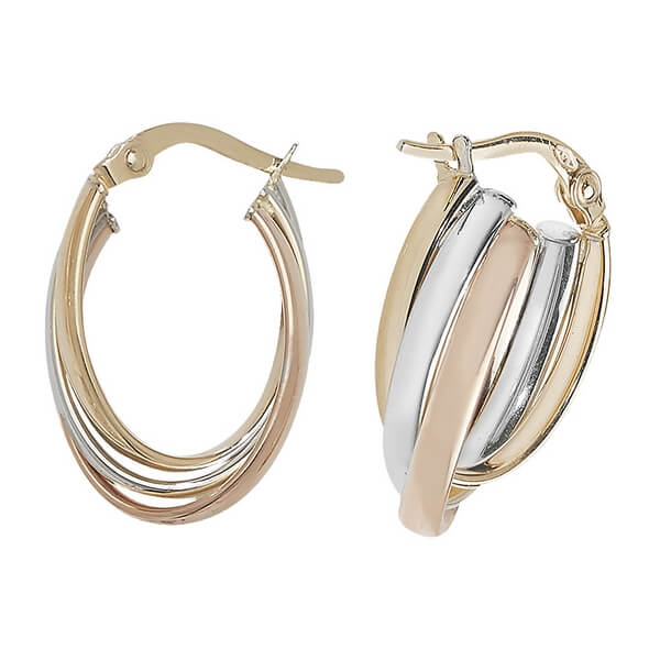 Tri-Colored Oval 9ct Gold Hoop Earrings