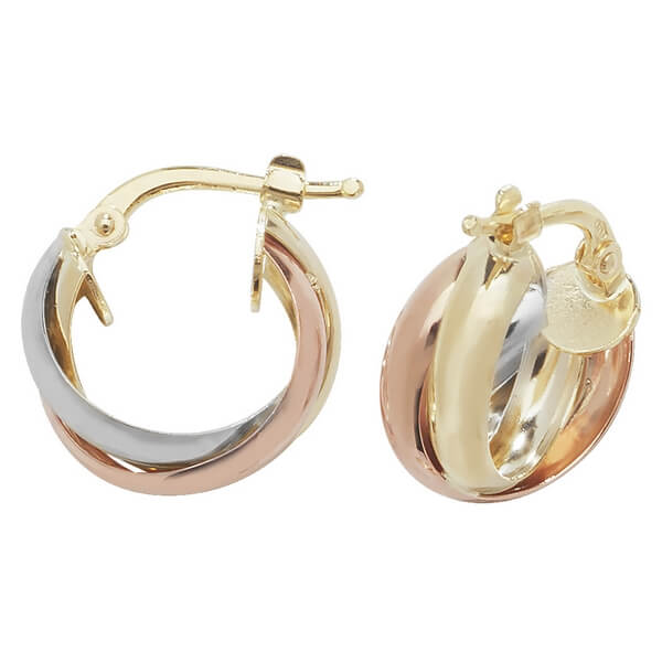 Tri-Colored 9ct Gold Small Hoop Earrings