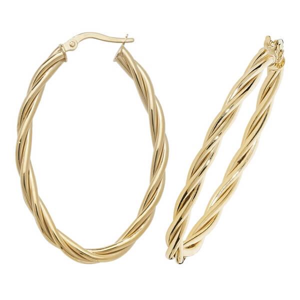9ct Yellow Gold Oval Twist Design Hoop Earrings
