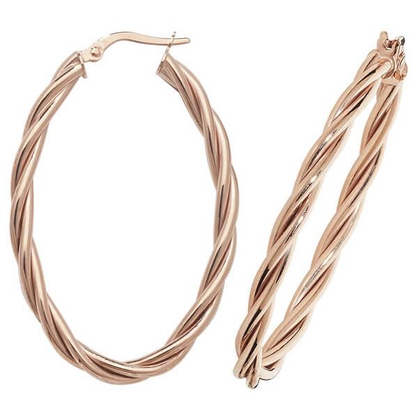 9ct Red Gold Oval Twist Design Hoop Earrings