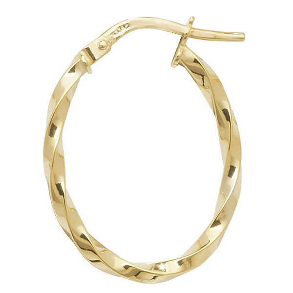 9ct Yellow Gold Oval Design Hoop Earrings