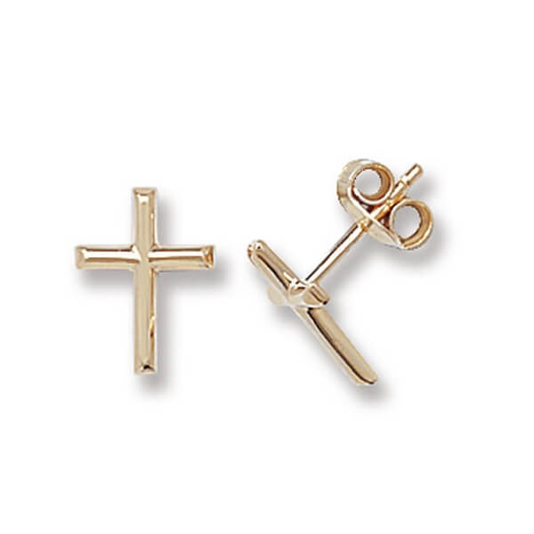 9ct Yellow and White Gold Cross Stud Earrings