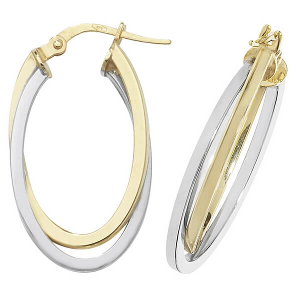 9ct Yellow and White Gold Oval Double Hoop Earrings