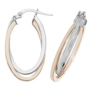 9ct Rose and White Gold Oval Double Hoop Earrings