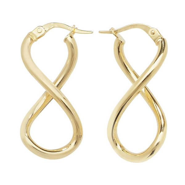9ct Yellow Gold Infinity Hoop Earrings