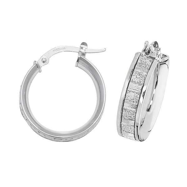 9ct White Gold 10mm to 50mm Earrings (15,20,25,30,40,50)