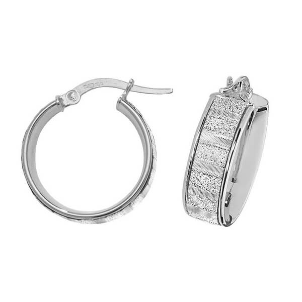 9ct White Gold 10mm to 50mm Earrings (10,15,20,25,30,50)