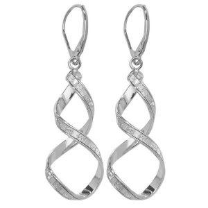 9ct White Gold Drop Earrings