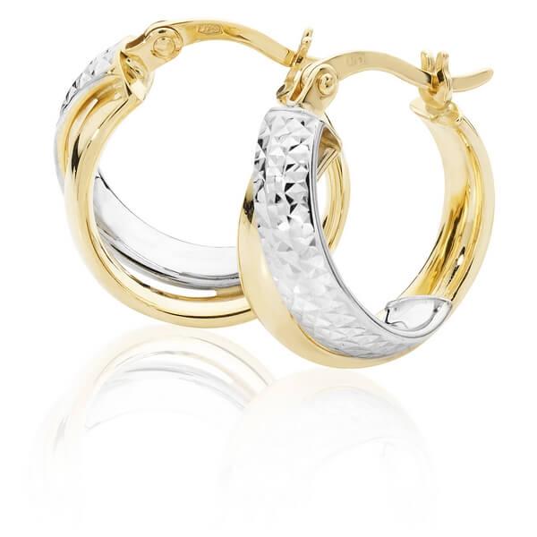 Two Tone Gold Diamond Cut Hoop Earrings (12, 18, 18mm)
