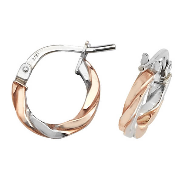 Red and White 9ct Gold Hoop Earrings (8,10,15,20,25,30mm)
