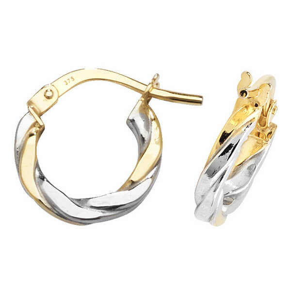 Yellow and White 9ct Gold Hoop Earrings (8,10,15,20,25,30mm)