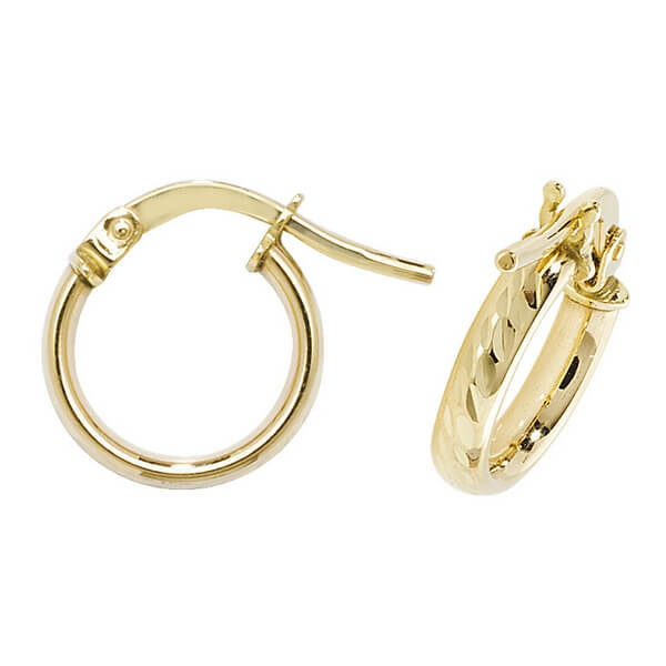 Yellow 9ct Gold Diamond Cut Small Hoop Earrings (8,10,15,20mm)