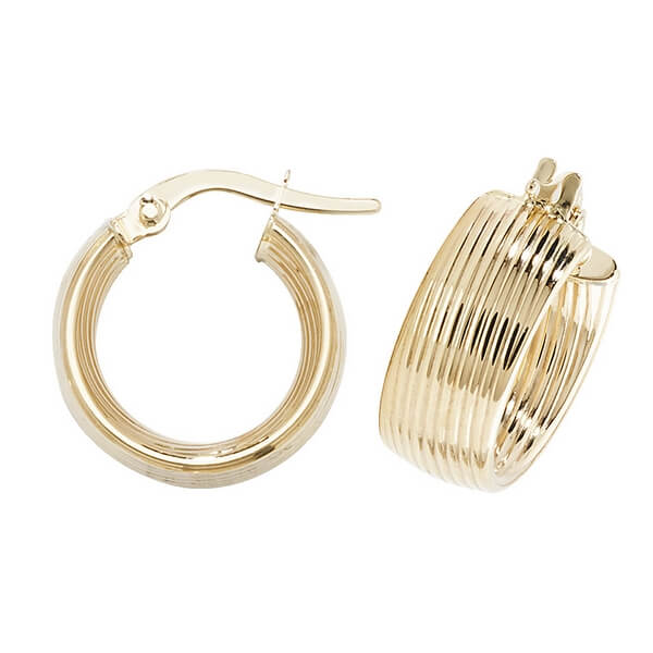 Contemporary 9ct Yellow Gold Hoop Earrings (10,15,20,25,30mm)