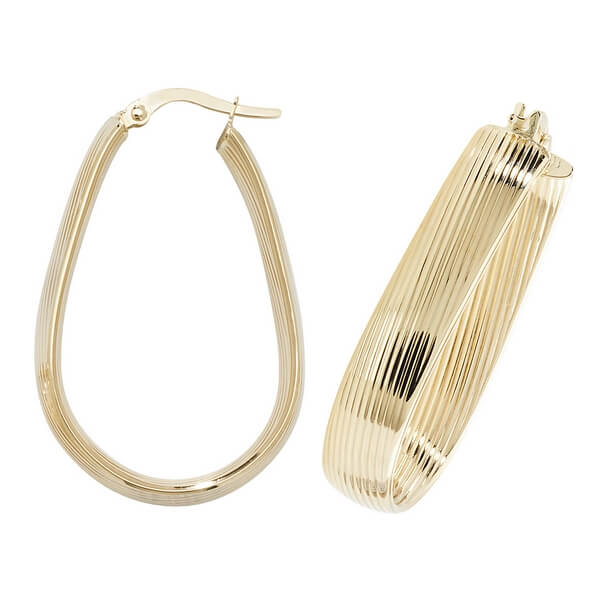 Contemporary 9ct Yellow Gold Oval Hoop Earrings