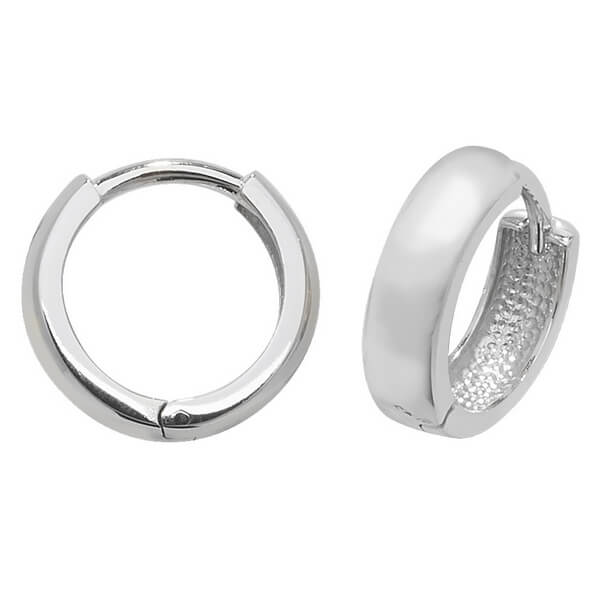 Small Plain Hinged Hooped Earrings in 9ct White Gold