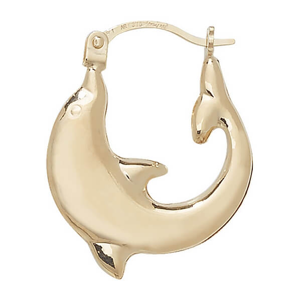 Little Dolphin Earrings in 9ct Yellow Gold