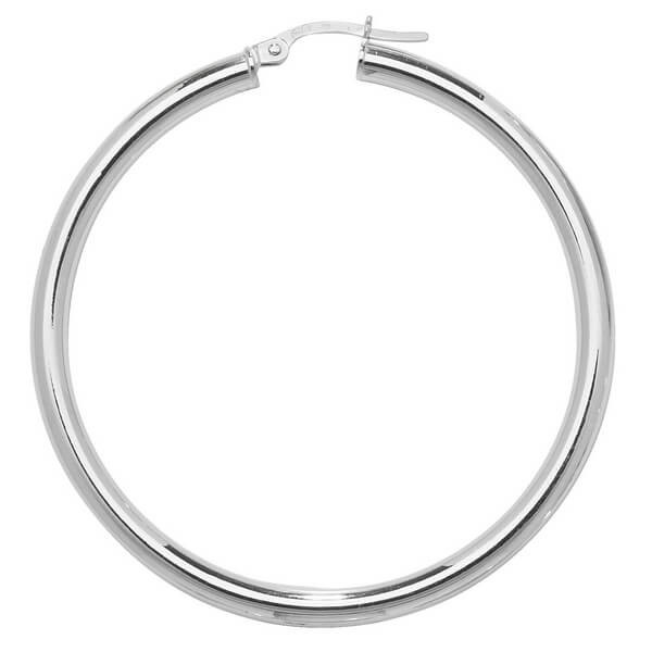 Large 35mm Hoop Earrings in 9ct White Gold