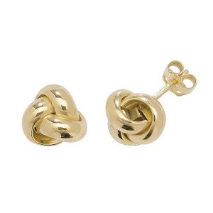 Knot Style Stud Earrings in 9ct Yellow Gold
