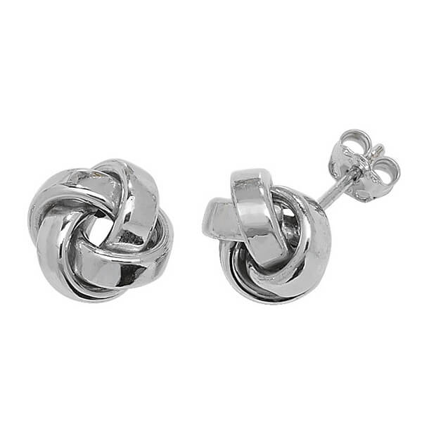 Knot Style Stud Earrings in 9ct White Gold