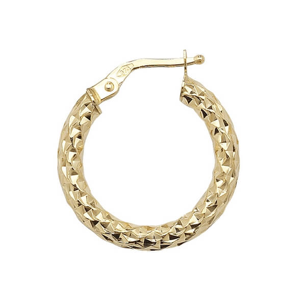 Yellow 9ct Gold Diamond Cut Hoop Earrings (15,20,25,30,40,50, 60mm)