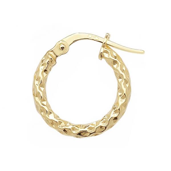Yellow 9ct Gold Diamond Cut Hoop Earrings (10,15,20,25,30,40,50mm)