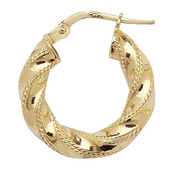 Yellow 9ct Gold Diamond Cut Hoop Earrings (10,15,20,25,30,40,50,60mm)