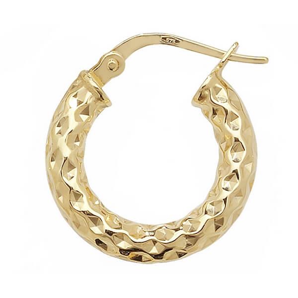 Yellow 9ct Gold Diamond Cut Hoop Earrings (10,25,30,40,50,60mm)