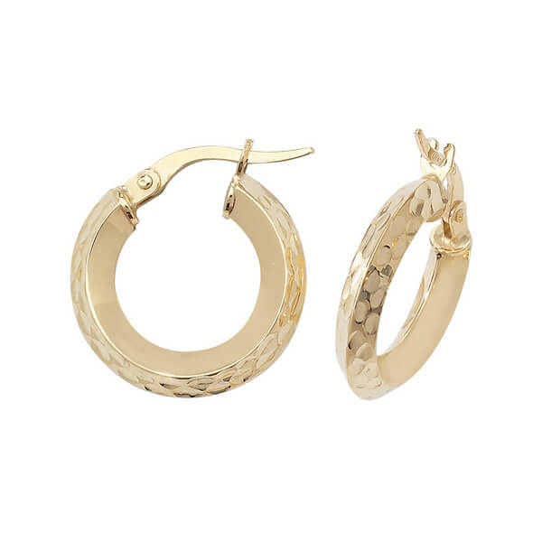 Yellow 9ct Gold Hoop Earrings (10,15,20,25,30,40mm)