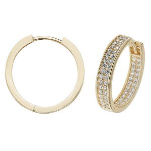 9ct Yellow Gold 15mm or 20mm Hoop Earrings set with Cubic Zirconia