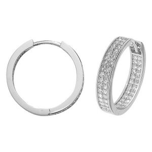 9ct White Gold 15mm or 20mm Hoop Earrings set with Cubic Zirconia