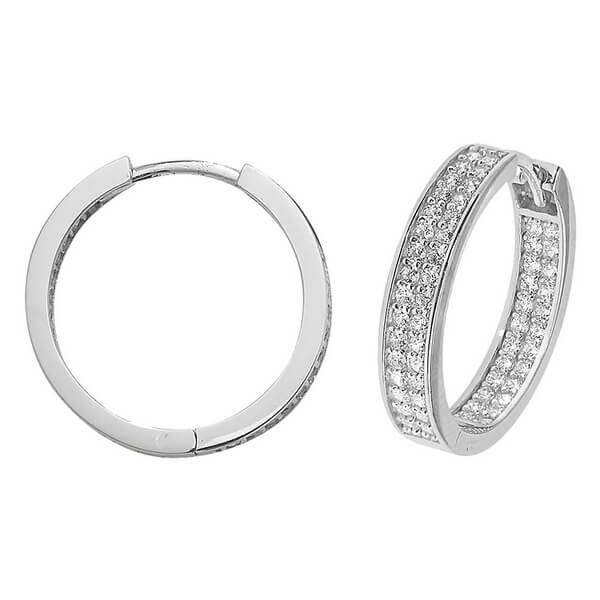 3f454cd8d222a 9ct White Gold 15mm or 20mm Hoop Earrings set with Cubic Zirconia