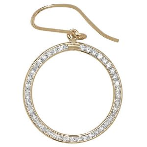 Fish Hook Cubic Zirconia set Circle Earrings in 9ct Yellow Gold