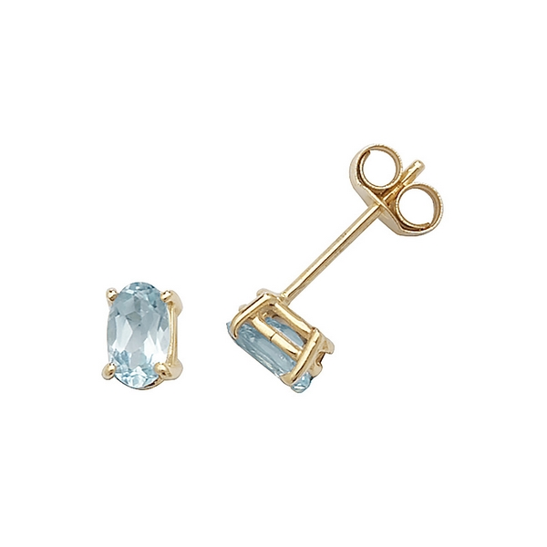 Solitaire Oval Blue Topaz Stud Earrings in 9ct Yellow Gold