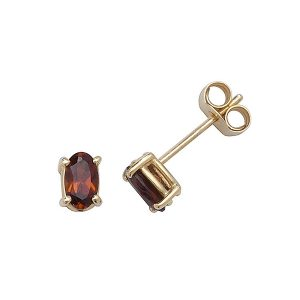 Solitaire Oval Garnet Stud Earrings in 9ct Yellow Gold