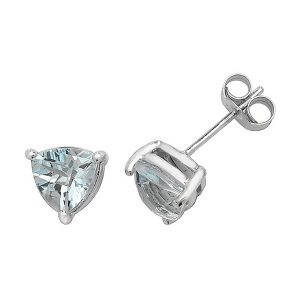 Solitaire Trillion Cut Blue Topaz Stud Earrings in 9ct Yellow Gold