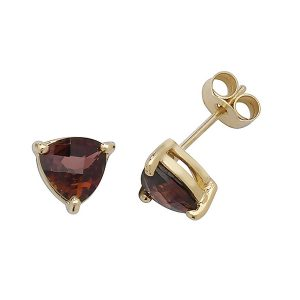 Solitaire Trillion Cut Garnet Stud Earrings in 9ct Yellow Gold