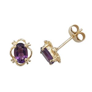 Oval Fancy Set Amethyst Stud Earrings in 9ct Yellow Gold