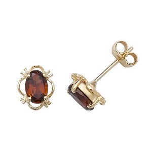 Oval Fancy Set Garnet Stud Earrings in 9ct Yellow Gold