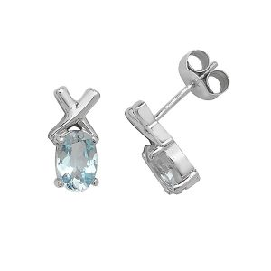 Oval Blue Topaz Stud Earrings with Cross Design in 9ct Yellow Gold