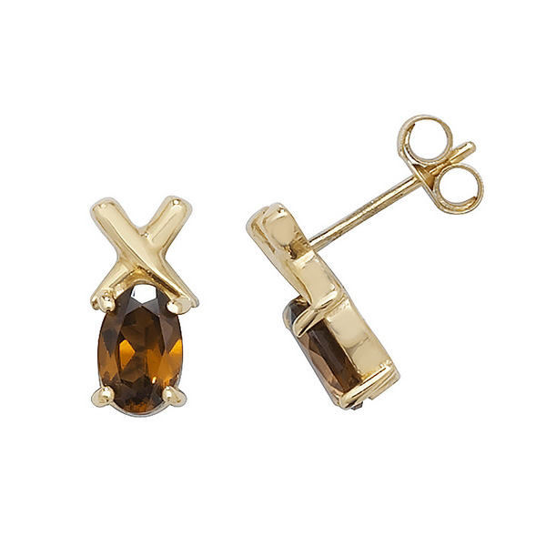 Oval Garnet Stud Earrings with Cross Design in 9ct Yellow Gold