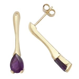 Pear Shaped Amethyst Long Drop Earrings in 9ct Yellow Gold