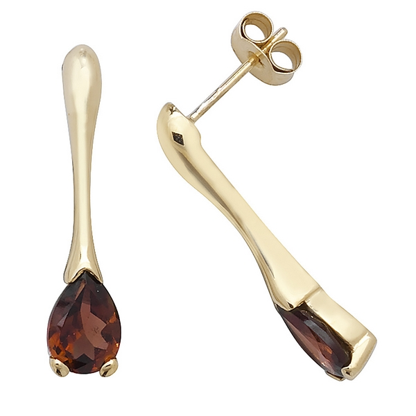 Pear Shaped Garnet Long Drop Earrings in 9ct Yellow Gold