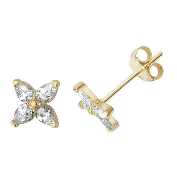 9ct Yellow Gold Star Stud Earrings