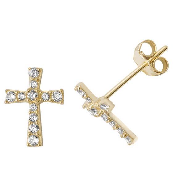 Cross Stud Earrings in 9ct Yellow Gold