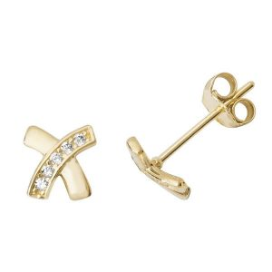 Kiss Stud Earrings in 9ct Yellow Gold