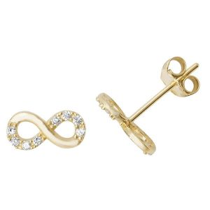 Infinity Shaped Earrings in 9ct Yellow Gold