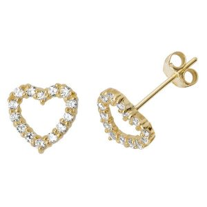 Open Heart Stud Earrings in 9ct Yellow Gold